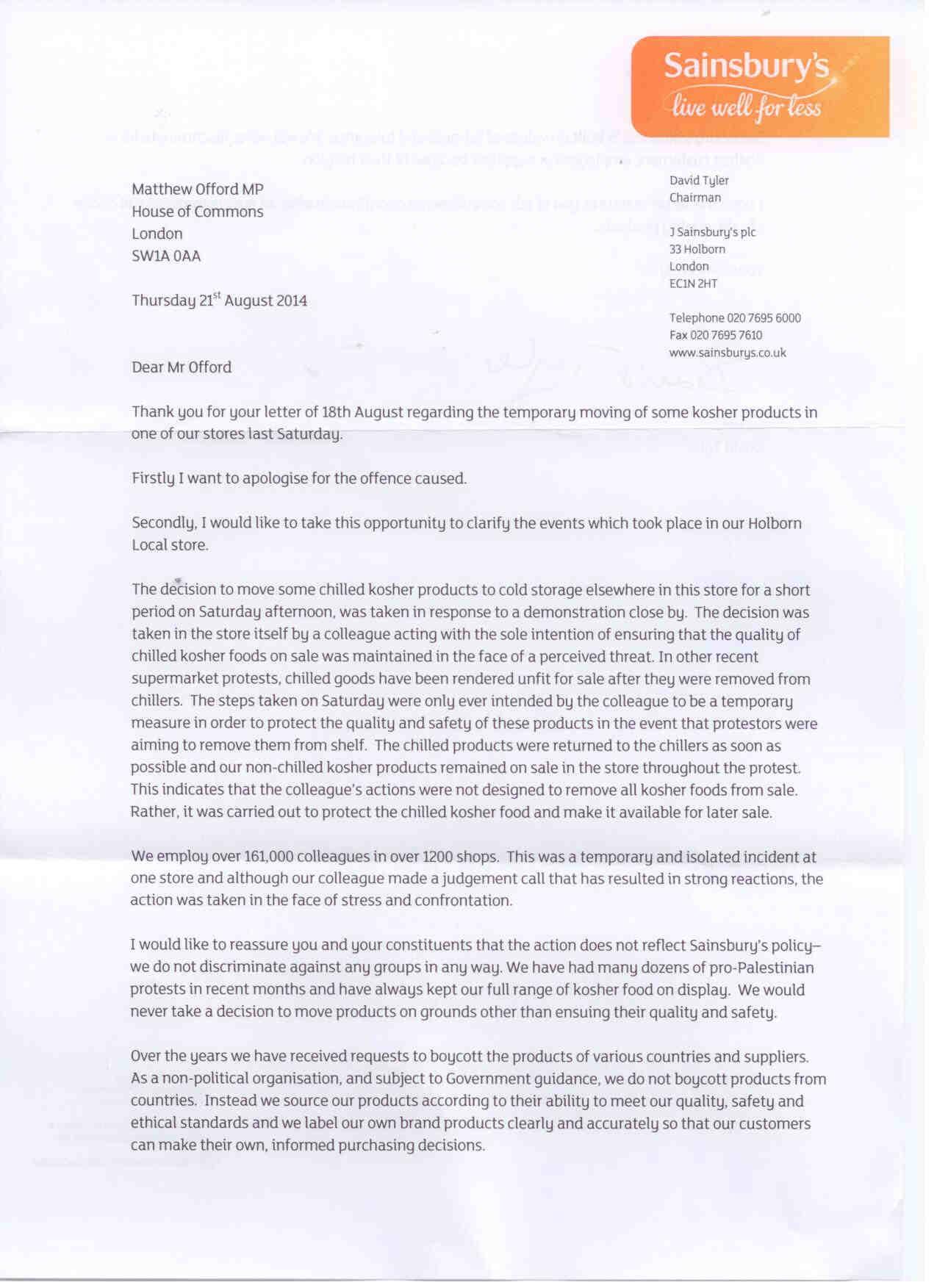 matthew receives apology from sainsbury u0026 39 s chairman