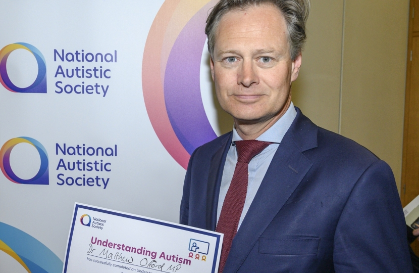 Matthew Offord MP at the Understanding Autism session in Parliament