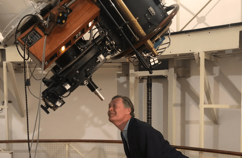 Matthew Offord MP at the observatory in Mill Hill