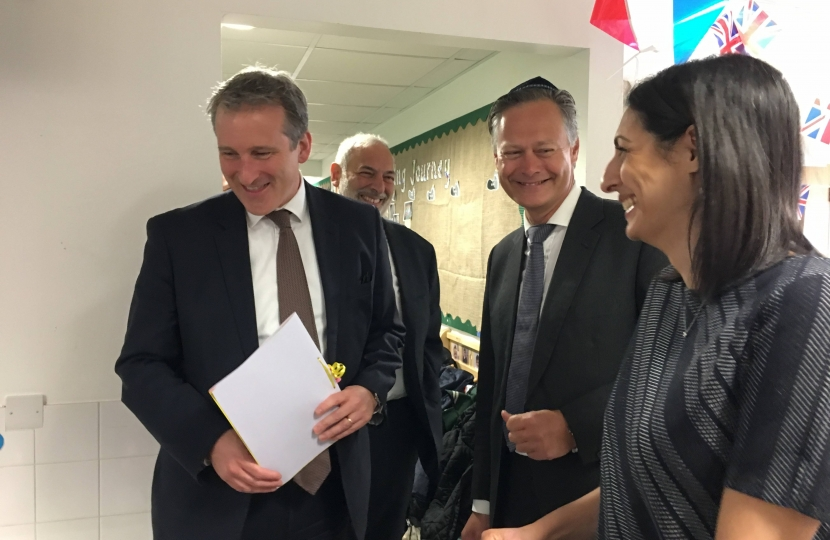 Matthew Offord MP with Damian Hinds and teachers at Etz Chaim