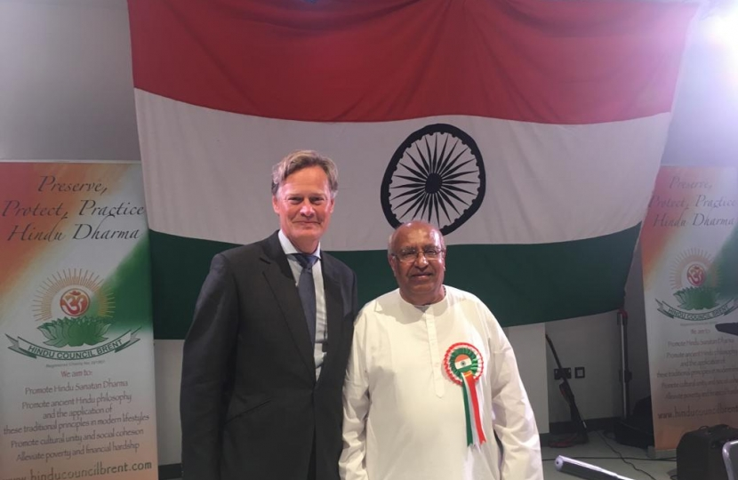 Matthew Offord MP with Hendon constituent Manubhai Makwana