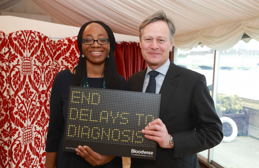 Matthew with Hendon constituent at Bloodwise event in Parliament